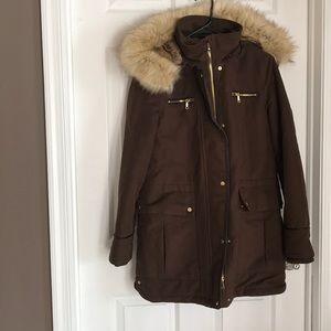 Zara Brown Parka Faux Fur Hooded Coat XS